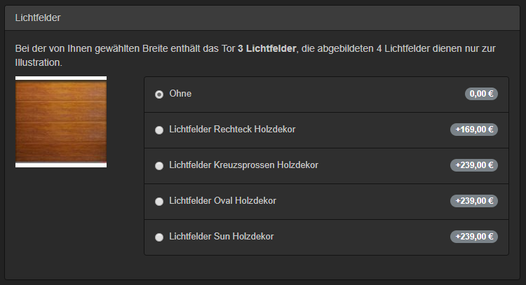 Sektionaltor-Konfigurator | Lichtfelder