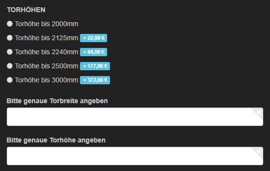 Sektionaltor-Konfigurator |  Torhöhe und Torbreite